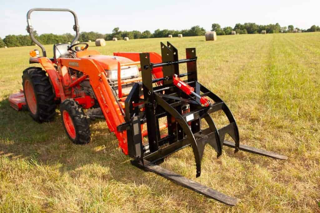 tractor pallet fork add a grapple adjustable